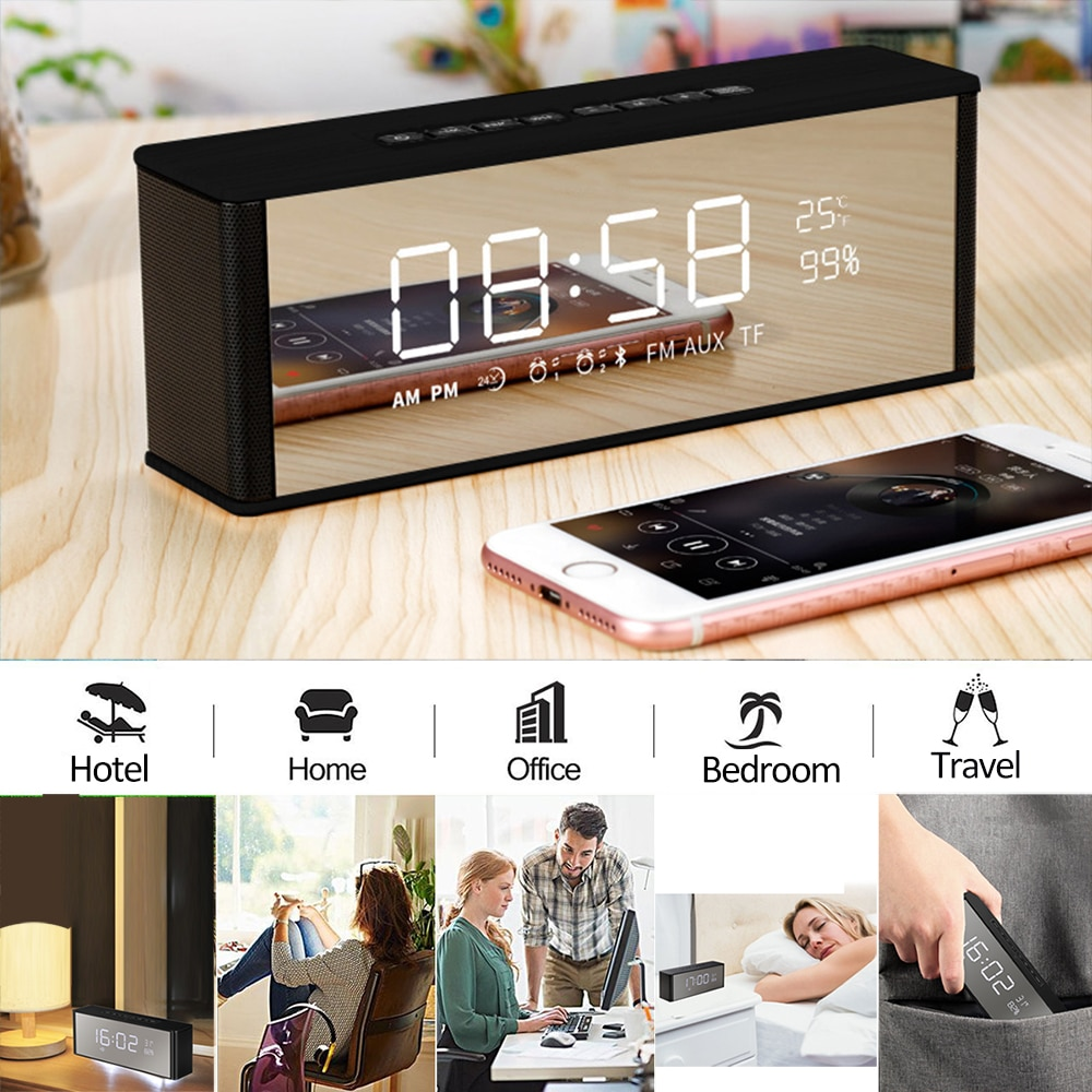Super Bass Bluetooth Speaker with Alarm Clock